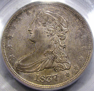 1837 RE Capped Bust Half Dollar  Choice PCGS AU-53... Original with Nice Color!!