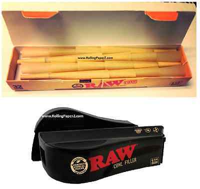 KING SIZE RAW PACK of 32 ORGANIC HEMP CONES RAW Pre Rolled rolling papers+FILLER
