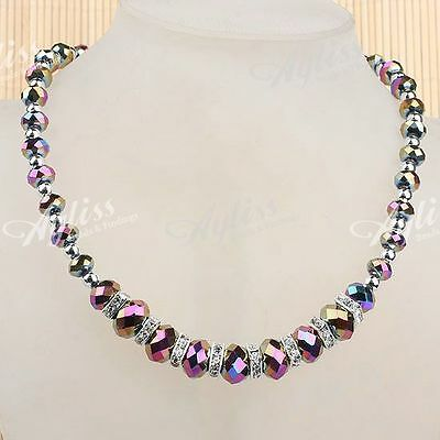 "Colorful Crystal Glass Faceted Beads Spacer Fashion Jewelry Necklace 19""L"