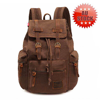 Outdoor Vintage Canvas Leather Hiking Travel Military Backpack Men's Bag