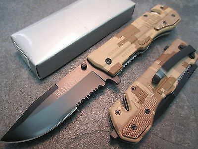 "8"" 9mm M9- Marines Camo Assisted Open Rescue Pocket Knife PK-865MAC zix"