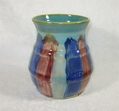 Vintage Early Hull Pottery Vase - 1920s multicolor stoneware pottery