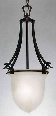 Mahogany Bronze And Alabaster Glass Chandelier/Pendant