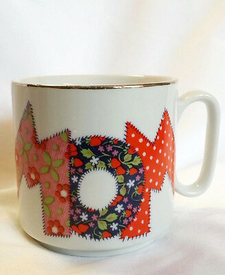 Mom Mug Coffee Cup Mother Patchwork Quilt White with Gold Trim Porcelain Ceramic