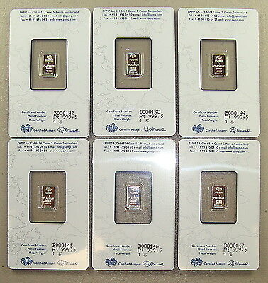 Lot of (6) Pamp Suisse .9995 Fine 1 Gram Platinum Bullion Bars