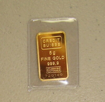 Credit Suisse 5 Gram .9999 Fine Statue of Liberty Gold Bullion Bar