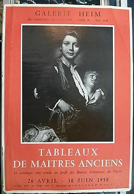 Vintage Art French Original Poster 1958 Galerie Heim Old Masters Exhibit RARE