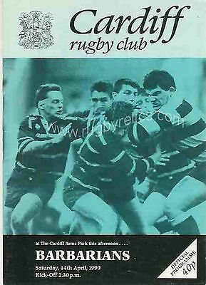 CARDIFF v BARBARIANS 1990 RUGBY PROGRAMME