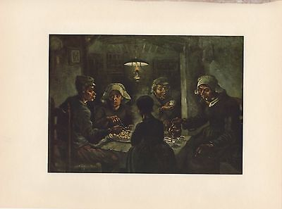 """1952 full Color Art Plate """" The Potato Eaters """" by Van Gogh Lithograph Litho"""