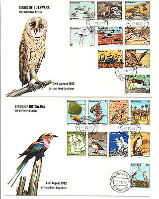 Botswana Fdc 1982 Birds Set (Cat £50 Off Cover.)