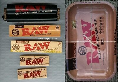RAW Adjustable Rolling Machine + ORGANIC & CLASSIC KING SIZE PAPERS + TIPS +TRAY