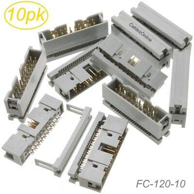 10-Pack 20-Pin Male IDC Flat Ribbon Cable Box Header 2.54mm Pitch Connectors