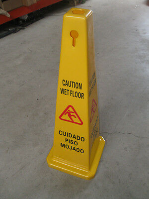 """(10 Cones) Wet Floor 35"""" 4-Sided Hard Plastic Safety Cone English / Spanish New"""