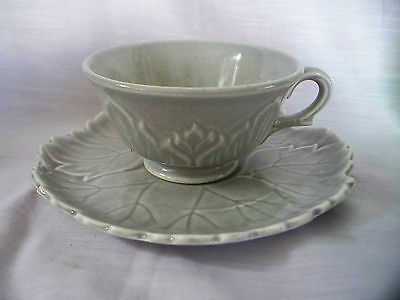 STEUBENVILLE OHIO WEDGE POTTERY GRAY CUP AND SAUCER