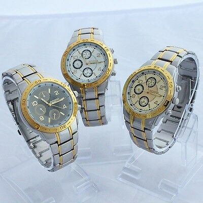Fashion Deluxe Gents Men Gift Stainless Steel Back Dress Quartz Wristwatch NG41