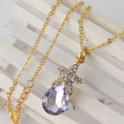 New Women 14k Gold Filled Austrian Crystal Star Amethyst Pendant Necklace ND0549