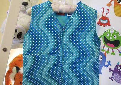 COZY TOUCH Baby Sleeping Bag 0.9 TOG BLUE ART WHITE DOTS 6-18 MONTHS