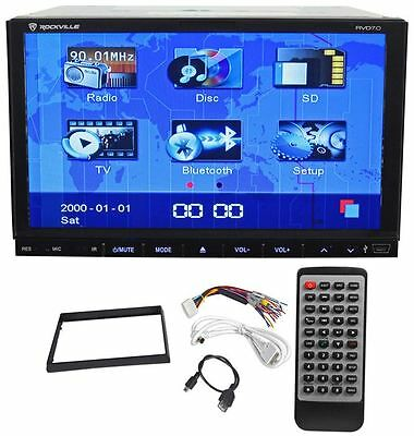 """Rockville RVD7.0 Double Din 7"""" Car DVD CD Player Receiver Bluetooth iPhone USB"""