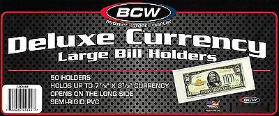 800 Semi Rigid Large Dollar Bill Holder - BCW NEW - Deluxe Currency Mailer