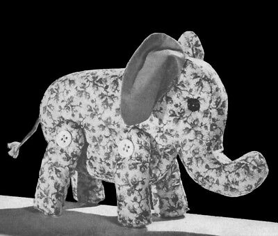 Vintage 1940s Easy to Sew Elephant Stuffed Animal Toy Pattern