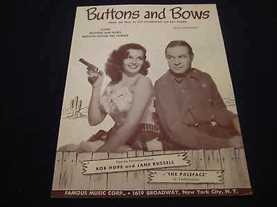 """Buttons And Bows (1948) """"The Paleface"""" Bob Hope & Jane Russell #4508"""