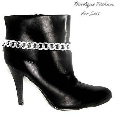 """Boot Bling Jewelry Anklet Bracelet Chunky Silver Curb Chain Handmade 14"""""""