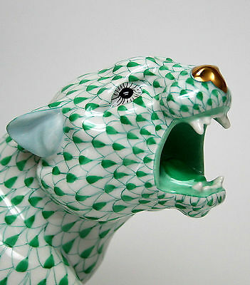 Herend *Extra Large* Green Fishnet Tiger on the Prowl! Dynamite Piece!