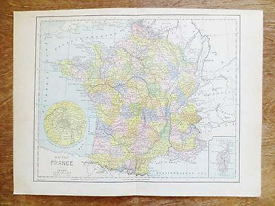 Early 1900s France Map Vintage Book Plate Tourist Information Roads Byways