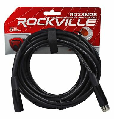 Rockville RDX3M25 25 Foot 3 Pin DMX Lighting Cable 100% OFC Copper Female 2 Male