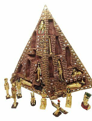 Ancient Egyptian Pyramid Eye of Horus with 16 Mini Deities Figurine Statue Myth