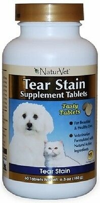 NaturVet TEAR STAIN SUPPLEMENT TABS 60 Ct Dog Cats Tasty Treat