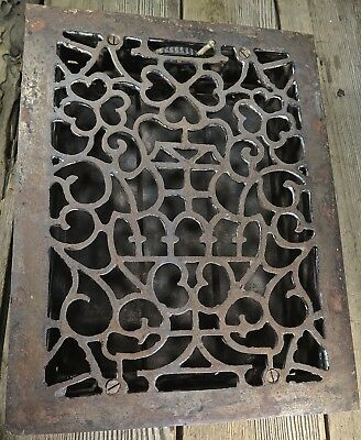 "Heat Air Grate register vintage 1800s iron old 13 3/8 x 10 1/2"" large hearts Urn"