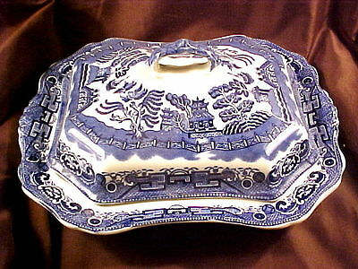"""Allerton's Willow Blue 11-3/4"""" Covered Vegetable Bowl, Great Condition"""