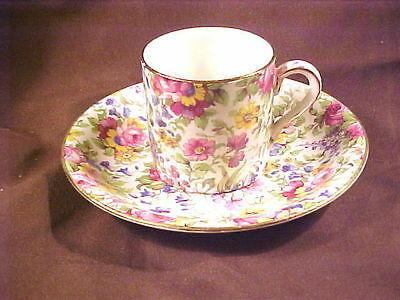 "Royal Winton Summertime Can Shaped Demitasse Cup/saucer, 2-1/4"" , Patt 775, Gt"