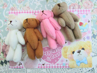 """4 Hand Made Little 3 inch Craft Teddy Bear Doll/Cute/Baby/Gift/Sew H559-3""""-Color"""