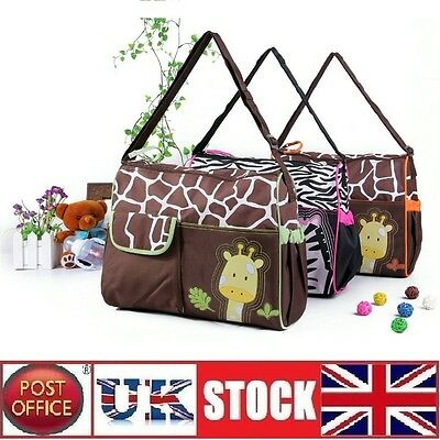 Baby Nappy Changing Bag Diaper Mat Mummy Handbag Set Waterproof Giraffe Pattern