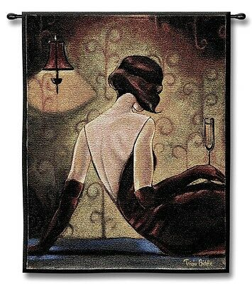 GLAMOUR VOGUE CHIC DIVA WINE BAR WOMAN ART TAPESTRY WALL HANGING 26x32