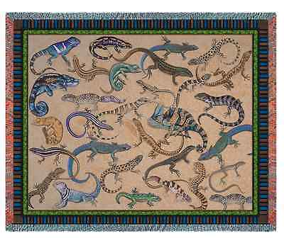 WHIMSICAL REPTILES LOUNGING LIZARD TAPESTRY THROW AFGHAN BLANKET