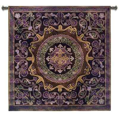 PURPLE FLORAL ABSTRACT MOTIF ART TAPESTRY WALL HANGING SMALL 43x43
