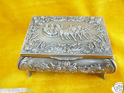 Chinese tibet silvering jewelry box with horse carved