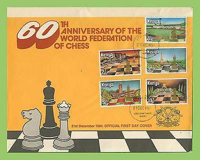 Kenya 1984 60th Anniv of International Chess Federation set on First Day Cover