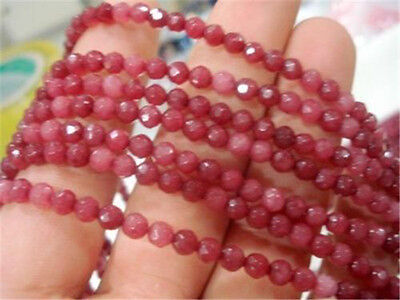 """4mm Brazil Faceted Red Ruby Round Loose Beads 15"""""""