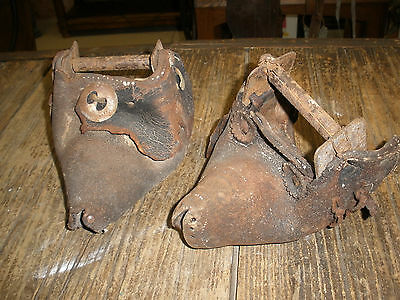 Pair Antique Leather Tapaderos #9-Cowboy-Vaquero-Rustic-Old Mexican-Stirrups