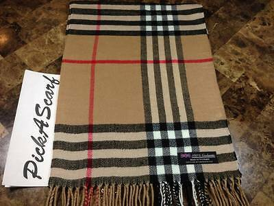 New Cashmere Scarf Camel Black Big Nova Check Tartan Plaid SCOTLAND B73 Unisex
