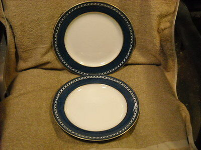 """Set of (2) Booths """"A 8062"""" Dinner Plates Blue Rim & Rope With Gold Trim"""