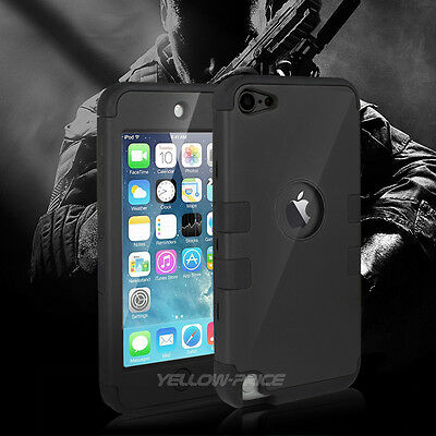 BLACK iPod Touch 6th 5th Gen Case-HARD&SOFT RUBBER HIGH IMPACT ARMOR CASE HYBRID
