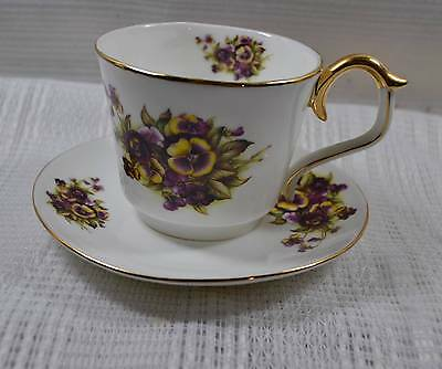 Lefton Pansy Cup and Saucer, c. 2003