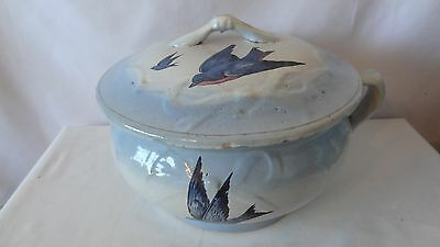 Brush McCoy Pottery RARE 1915 Blue Bird Bow Knot  Lid and Chamber Pot #G667.