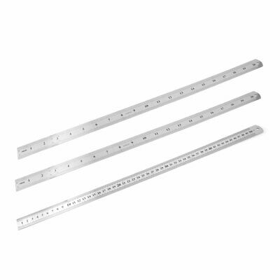 """3 Pcs Double Sides Stainless Steel Metric 50cm 20"""" Scale Straight Rulers"""
