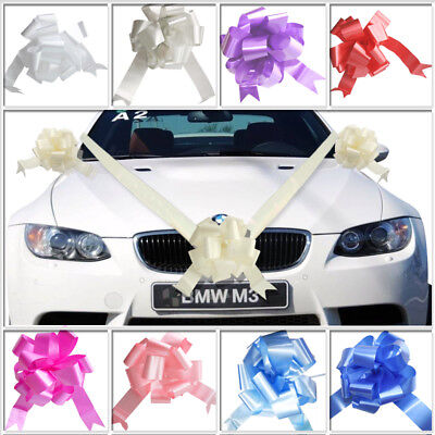 Wedding Car Decoration Kit - 7m of Poly Ribbon & 5 x Large Pull Bows -9 Colours